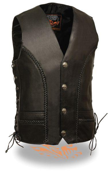 Men's Braided Side Lace Vest w/ Buffalo Snaps ML1359