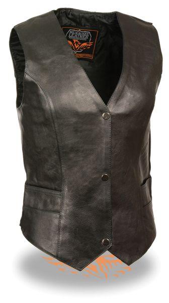 Ladies Black Leather Classic Snap Front Biker Vest ML1254