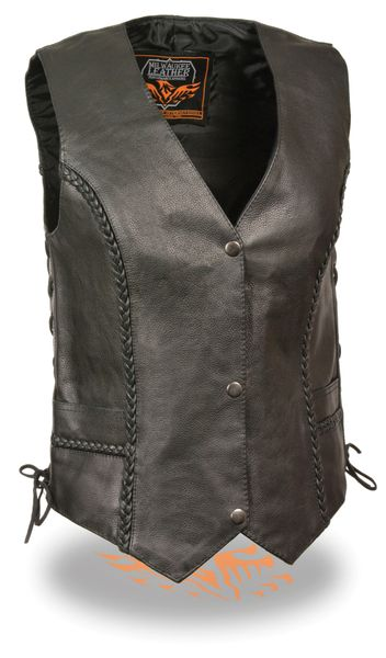 Ladies Black Leather Braided Seams Side Lace Biker Vest ML1255