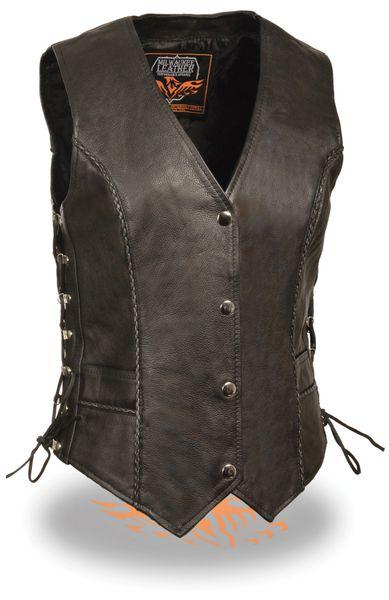 Ladies Black Snap Front Leather Vest w Thin Braided Seam ML2042