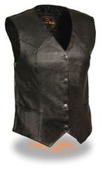 Ladies Classic 4 Snap Black Leather Vest SH1227