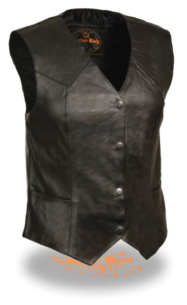 Ladies Classic 4 Snap Black Leather Vest SH1227