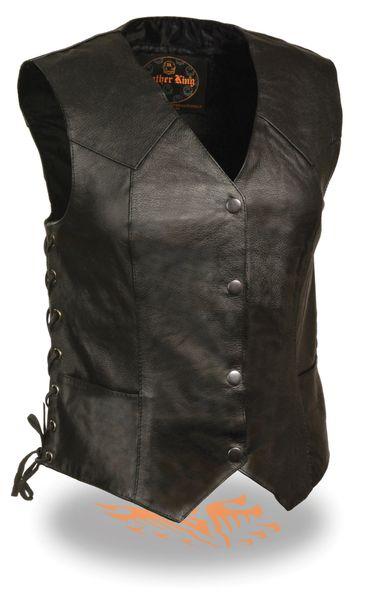 Ladies Black Leather 4 Snap Biker Vest with Side Laces SH1227L