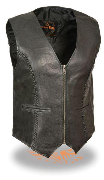 Ladies Zipper Front Braided Black Leather Vest SH1246Z