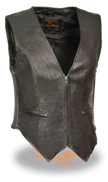 Ladies Zipper Front Black Leather Vest Side Stretch Sides SH1288