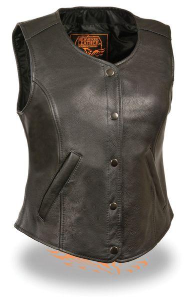 Womens Black Leather Snap Front Longer Body Vest LKL4701