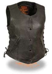 Women's 5 Snap Black Leather Vest w Side Lace, Gun Pockets LKL4700