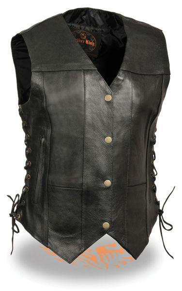 Womens Black Leather 6 Pocket Side Lace Vest SH1292
