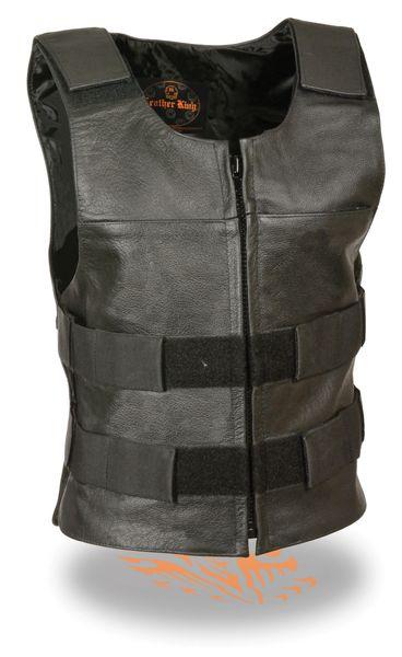 Ladies Black Leather Replica Bullet Proof Style Vest SH1367LZ