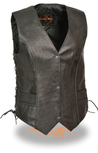 Ladies Black Leather Snap Front Vest w Thin Braided Seams SH2045