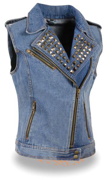 Ladies Denim Zipper Front Vest w Studded Spikes MDL4030