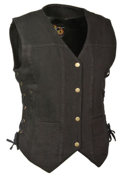 Ladies Denim Snap Front Vest, 6 Pockets & Side Laces MDL4020