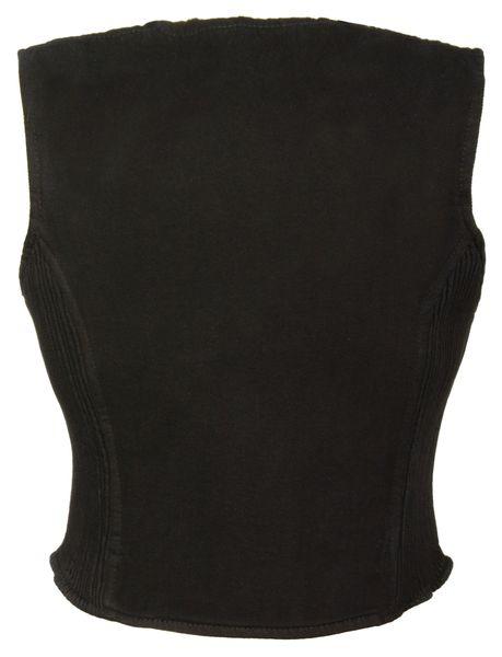 Ladies Zipper Front Denim Vest w/ Side Stretch Panels MDL4010