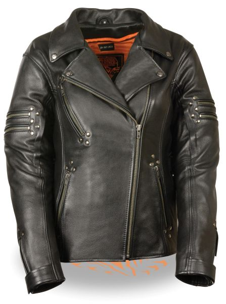 Ladies Black Leather Fitted Beltless Vented Biker Jacket w Rivet Detailing MLL2585