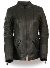 3/4 Length Womens Leather Motorcycle Jacket Features: