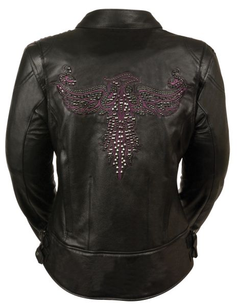 Motorcycle Leather Jacket w/Stud Detail MLL2560