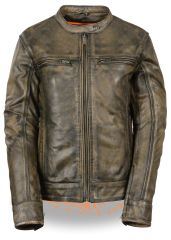 Women's Leather Distressed Brown Scooter Motorcycle Jacket MLL2550