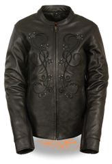 Women's Leather Reflective Star Motorcycle Jacket w/Rivet Detailing MLL2500