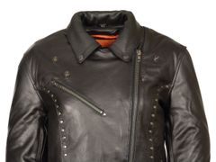 Women's Milwaukee Leather Classic M/C Motorcycle Jacket w/Rivet Detailing ML1948