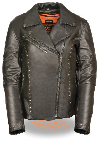 Women's Leather Classic M/C Motorcycle Jacket w/Rivet Detailing ML1948