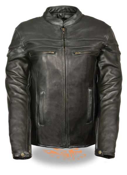 Women's Leather Sporty Scooter Crossover Jacket w/Reflective Piping SH8011