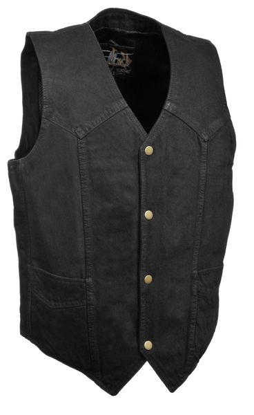 Men's Classic Snap Front Denim Biker Vest DM1310