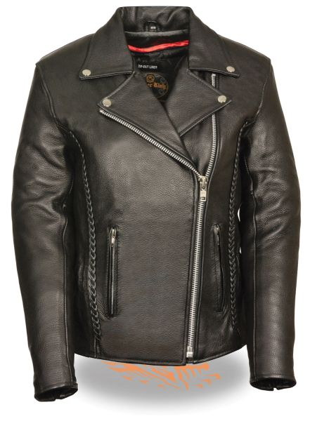 Women's Leather Biker Jacket w/Braid & Stud Detailing LKL2710