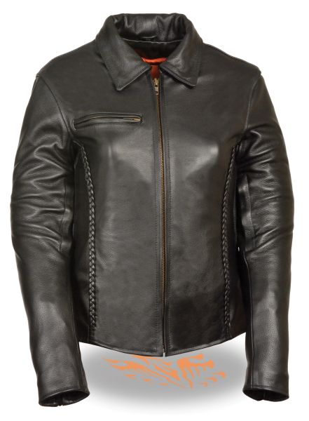 Women's Leather Shirt Collar Style Motorcycle Jacket w/Braiding Detail SH7093