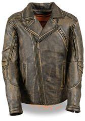 Men's Leather Triple Stitch M/C Motorcycle Jacket MLM1515