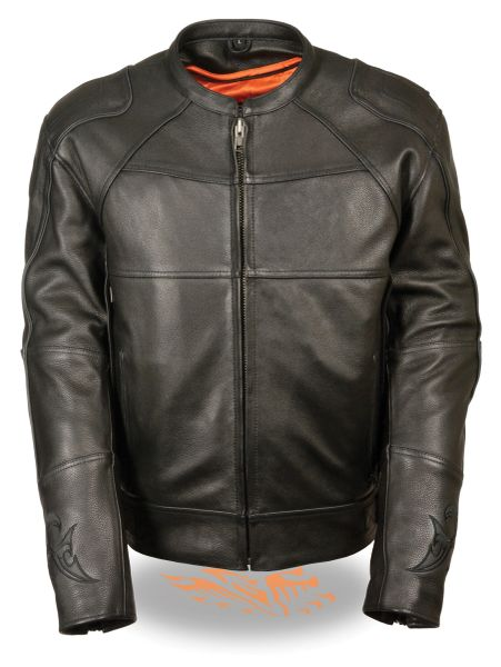 Men's Updated Scooter Leather Motorcycle Jacket w/Reflective Skull and Flames MLM1510