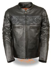 Men's Crossover Scooter Leather Motorcycle Jacket w/Reflective Skulls MLM1500