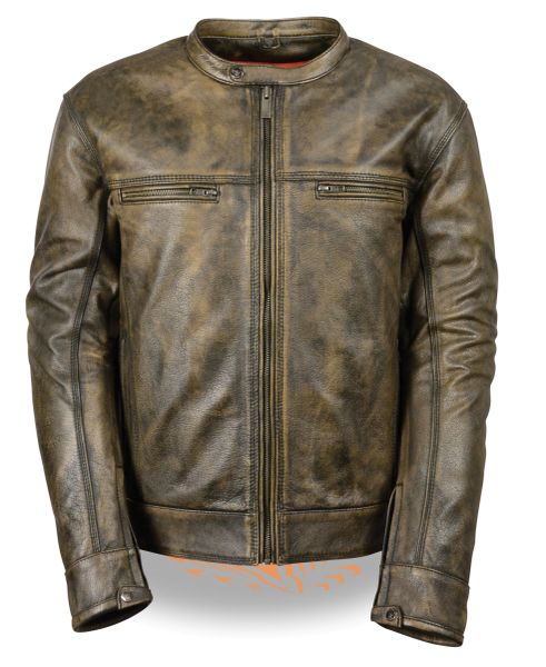 Men's Distressed Brown Scooter Jacket W/Venting MLM1550