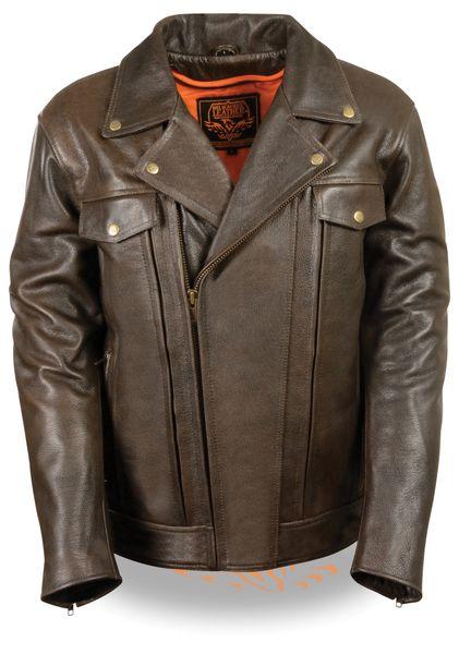 Men's Retro Brown Utility Pocket M/C Motorcycle Jacket MLM1522