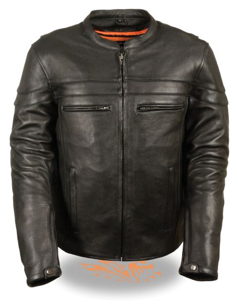 Men's Sporty Scooter Leather Crossover Motorcycle Jacket ML1408