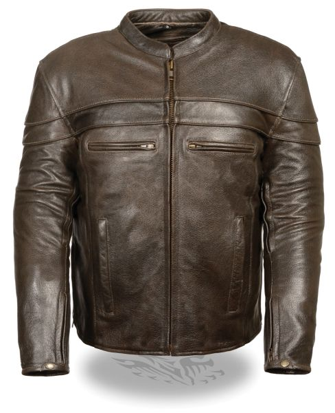 Men's Retro Brown Sporty Scooter Crossover Motorcycle Jacket ML1408RT
