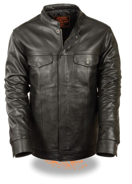 Men's Club Style Cut Zipper/Snap Front Leather Shirt Jacket MLM1610