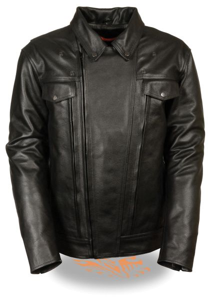 Men's Tall Utility Pocket Vented Cruiser Leather Motorcycle Jacket MLM1720TALL