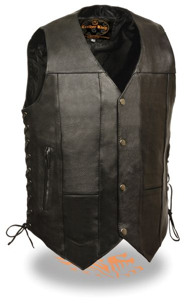 Men's 10 Pocket Side Lace Leather Motorcycle Vest SH1391