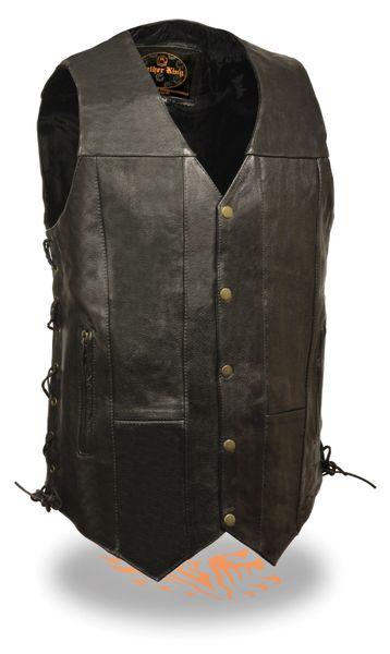 Men's Classic Side Lace Tall Leather Biker Vest SH1392