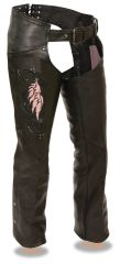 Women's Milwaukee Leather Chaps w/Wing Embroidery And Rivet Details ML1179
