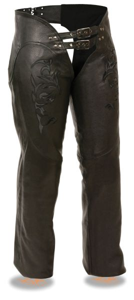 Women's Milwaukee Leather Motorcycle Chap w/Reflective Tribal Embroidery ML1187
