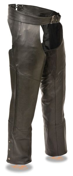 Men's Milwaukee Leather Vented Motorcycle Chap w/Stretch Thigh Panel ML1129