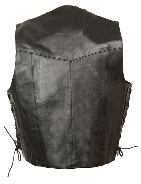 Kid's Basic Side Lace Leather Three Snap Biker Vest SH2011L