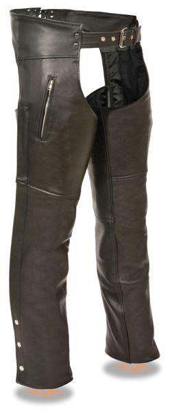 Men's Premium Buffalo Leather Zippered Thigh Pocket Motorcycle Chap SH1190
