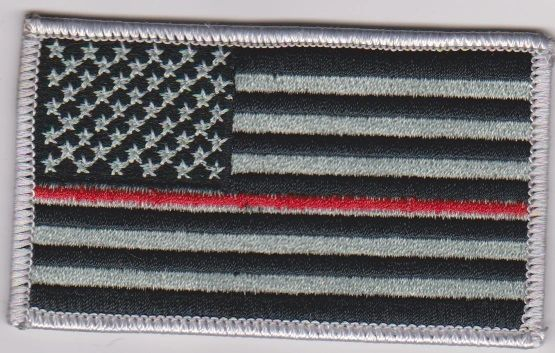 American Flag with Gray Border/red line