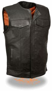 Men's Collarless Snap/Zip Front Club Vest, Black MLM3511