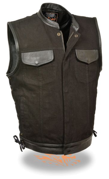 Men's Side Lace Denim Vest w/ Leather Trim & Hidden Zipper MDM3011