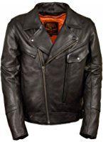 Men's Utility Pocket Vented Cruiser Leather Motorcycle Jacket LKM1720