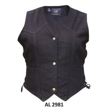 Ladies Denim Black Vest AL2981