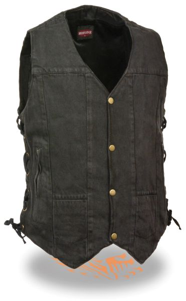 Men's 10 Pocket Side Lace Denim Vest DM1990